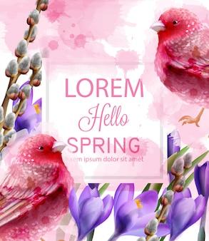 Bonjour carte de printemps aquarelle