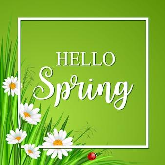 Bonjour carte de printemps avec herbe et fleur