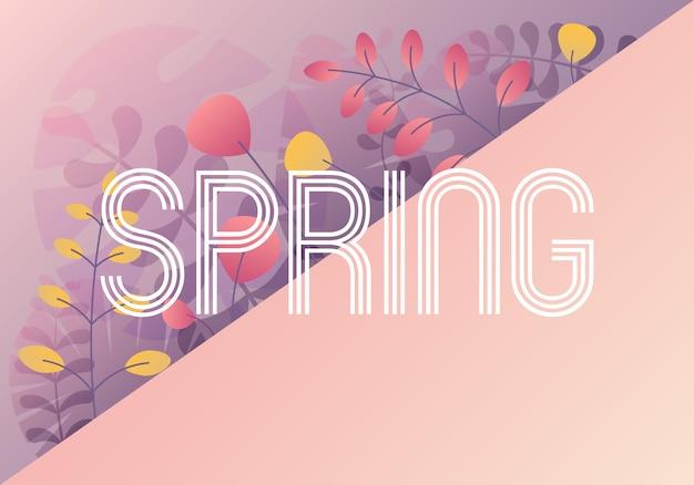 Bonjour la carte de printemps avec une phrase manuscrite, affiche de vacances.
