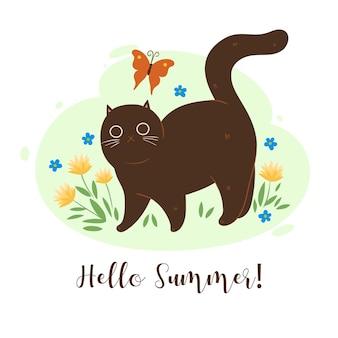 Bonjour carte de voeux d'été avec chat et fleurs