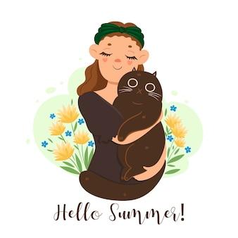 Bonjour carte de voeux d'été avec fille et chat.