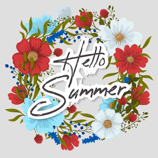 Bonjour carte de voeux d'été avec des fleurs.