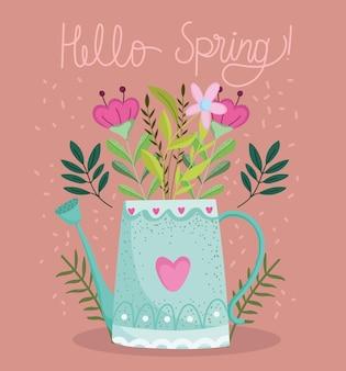 Bonjour carte de voeux de printemps avec arrosoir et fleurs