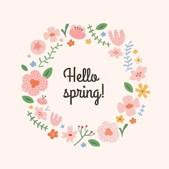 Bonjour carte de voeux de printemps avec des fleurs