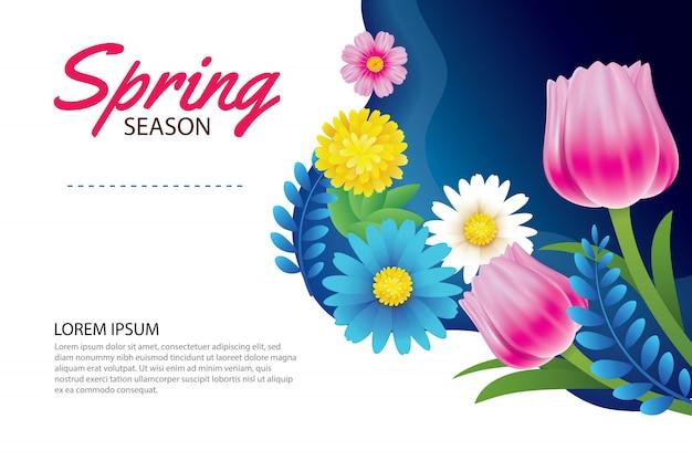 Bonjour carte de voeux de printemps et invitation avec des fleurs.