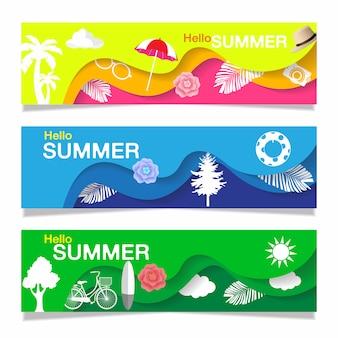 Bonjour collection de bannières d'été