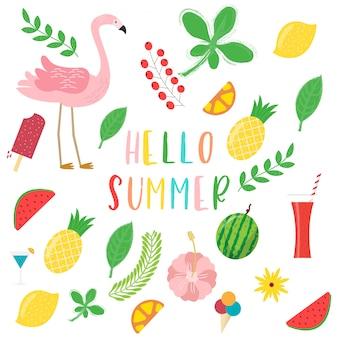 Bonjour collection d'été. icônes mignonnes de l'été.
