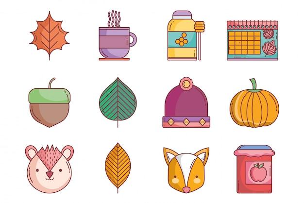 Bonjour collection d'icônes d'automne