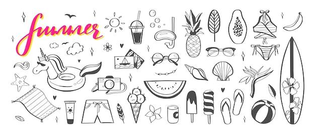 Bonjour collection d'icônes dessinés à la main d'été