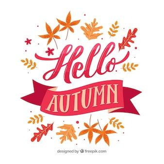 Bonjour composition automne avec un design plat