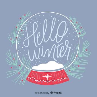 Bonjour composition d'hiver dessiné à la main