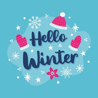 Bonjour concept hiver avec lettrage