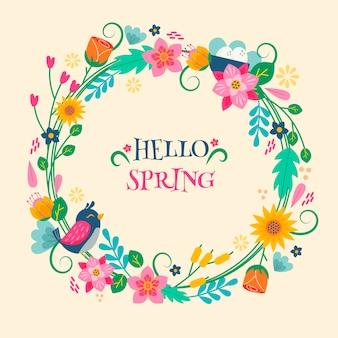Bonjour concept de lettrage coloré de printemps