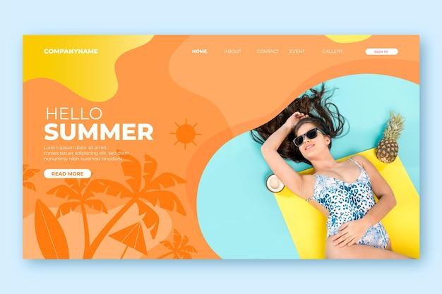 Bonjour concept de page de destination d'été