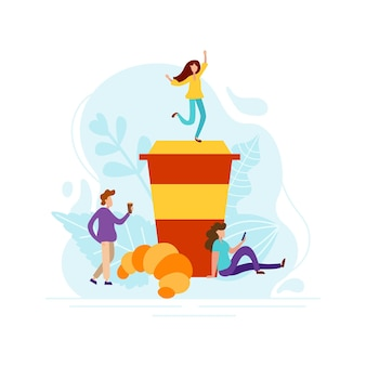 Bonjour concept avec de petites personnes. réveillez-vous avec du café frais et un croissant. illustration de conception graphique plate de vecteur.