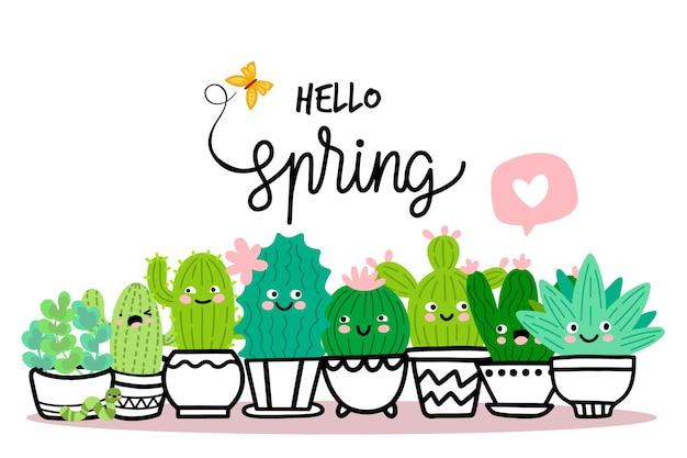 Bonjour concept de printemps avec cactus