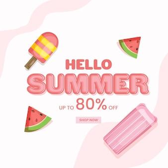 Bonjour conception d'affiche de vente d'été avec une offre de réduction de 80 %