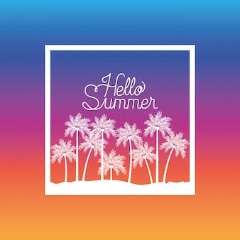 Bonjour conception de cadre d'été et de vacances