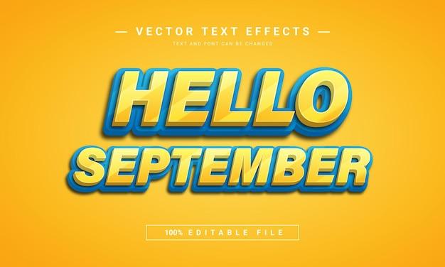 Bonjour conception d'effet de texte modifiable en septembre 3d