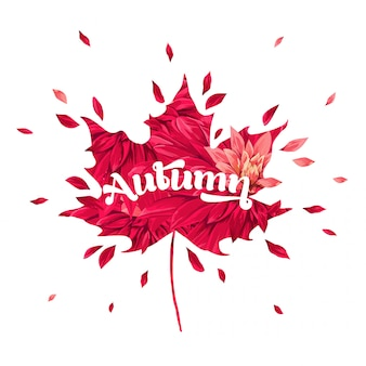 Bonjour conception florale aquarelle automne avec feuille d'érable.