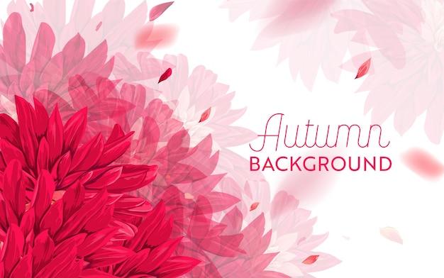 Bonjour conception florale d'automne. arrière-plan floral d'automne saisonnier pour bannière web, affiche, dépliant, vente, promotion, impression. fleurs d'asters à l'aquarelle. illustration vectorielle