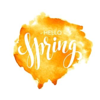 Bonjour la conception de lettrage aquarelle printemps. illustration
