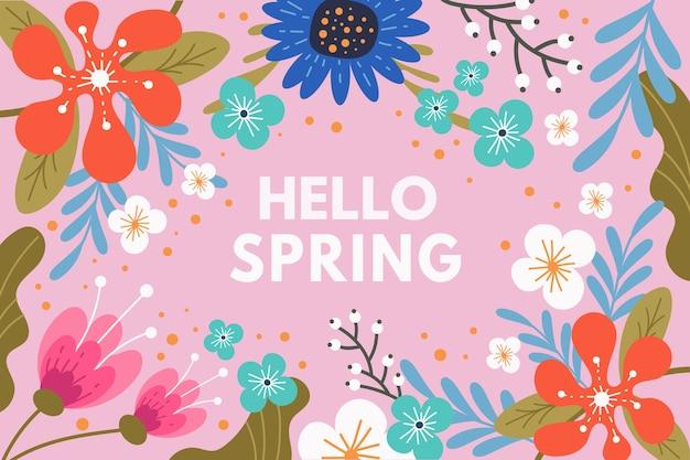 Bonjour conception de lettrage de printemps avec des fleurs colorées