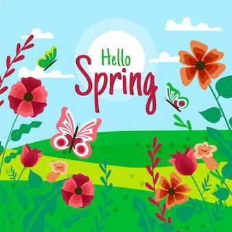 Bonjour conception de lettrage de printemps