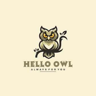 Bonjour La Conception De Logo De Hibou Vecteur Premium