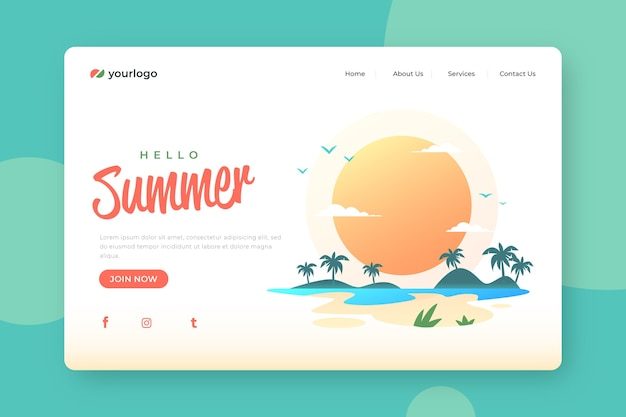 Bonjour conception de page de destination d'été