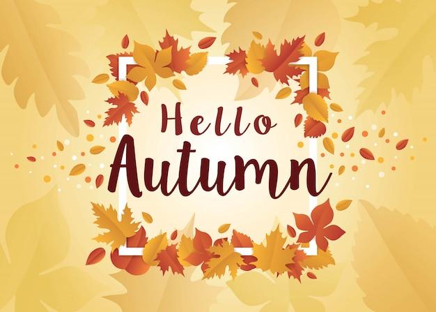 Bonjour la conception de la saison d'automne. modèle saisonnier automne avec feuille