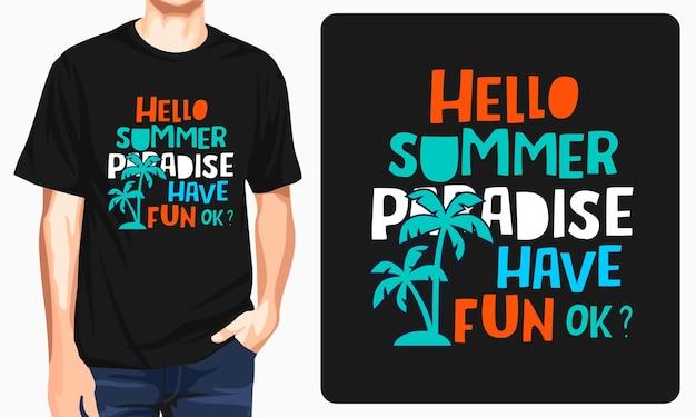 Bonjour conception de t-shirt d'été
