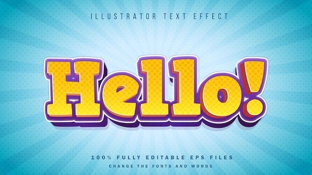 Bonjour! conception typographique d'effet de texte 3d comique