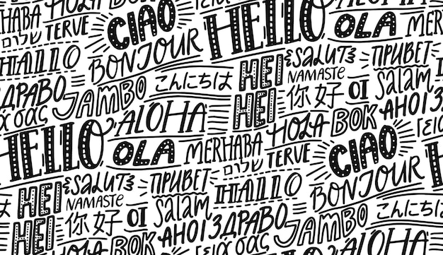Bonjour dans différentes langues modèle sans couture de typographie papier peint à la main pour l'école des hôtels