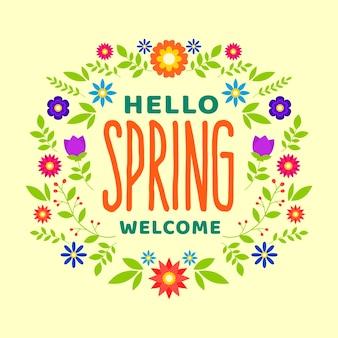 Bonjour design coloré de printemps