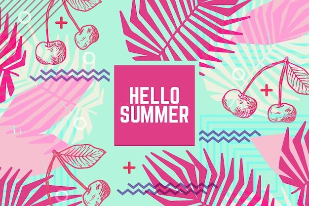 Bonjour design dessiné à la main l'été