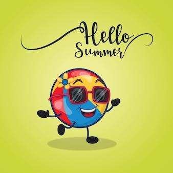 Bonjour design d'été avec personnage de dessin animé de balle