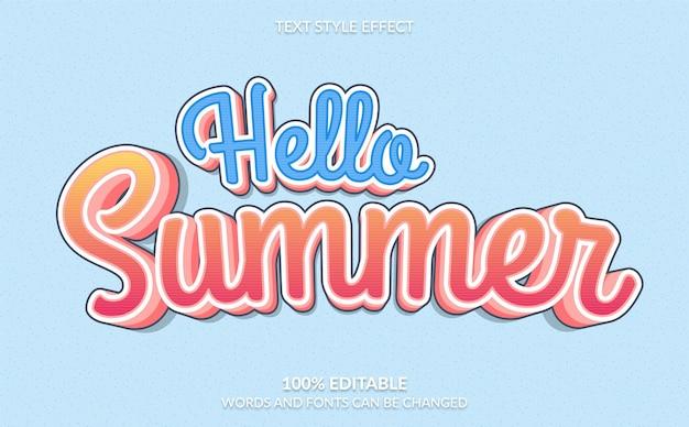 Bonjour effet de style de texte d'été