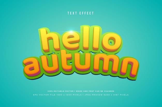 Bonjour effet de texte 3d automne sur fond tosca