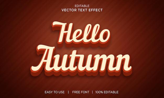 Bonjour effet de texte 3d modifiable d'automne avec effet de texte premium