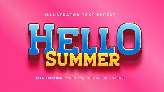 Bonjour l'effet de texte d'été