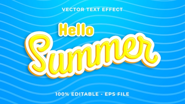 Bonjour effet de texte d'été
