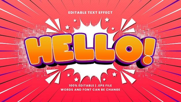 Bonjour effet de texte modifiable comique avec style de texte de dessin animé