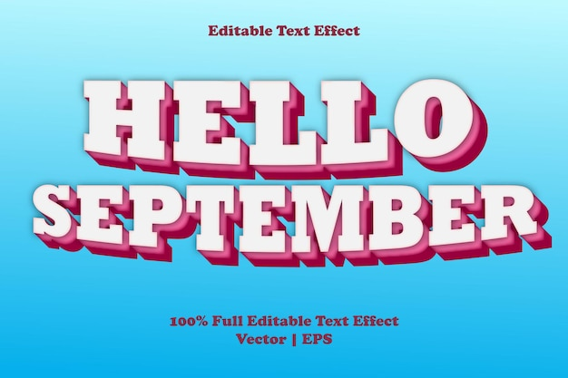 Bonjour effet de texte modifiable de septembre