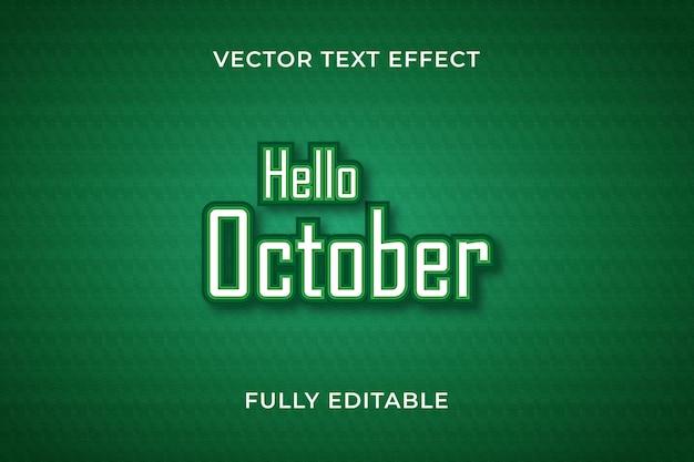 Bonjour effet de texte d'octobre