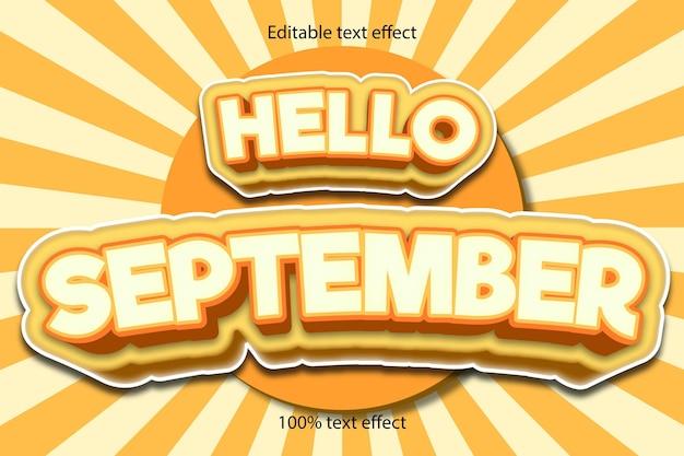 Bonjour effet de texte de septembre