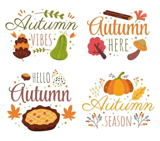 Bonjour élément de design isolé étiquette décorative automne