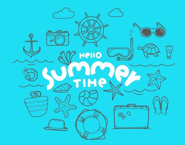 Bonjour les éléments de doodle de l'heure d'été avec inscription de lettrage