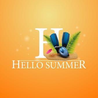 Bonjour l'été, carte postale orange avec masque de plongée, palmes et palmes