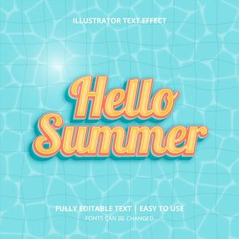 Bonjour l'été dans la piscine, effet de texte modifiable